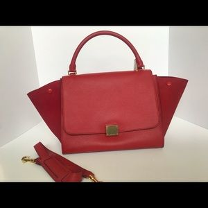 Authentic CELINE Trapeze Red Pebbled Suede Leather